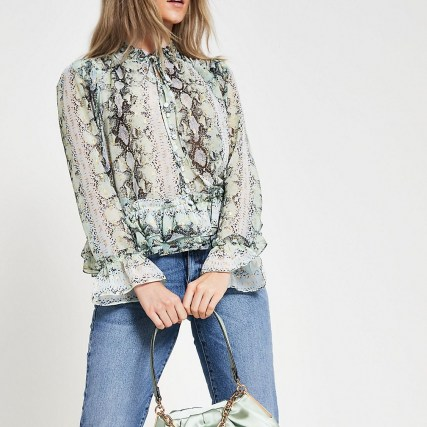 RIVER ISLAND Green long sleeve animal print blouse / frill edged blouses