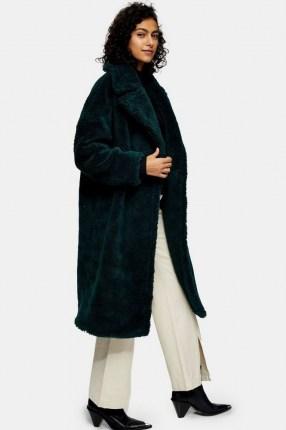 Topshop Green Maxi Borg Coat | textured winter coats - flipped
