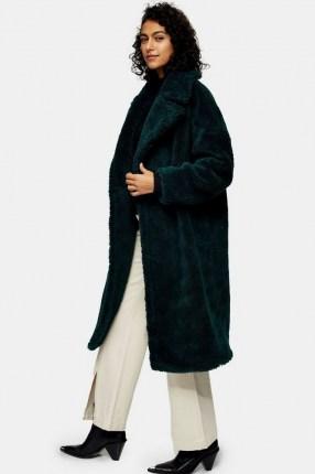 Topshop Green Maxi Borg Coat | textured winter coats