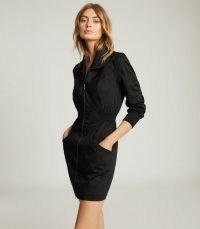 REISS GRETA ZIP-THROUGH UTILITY DRESS BLACK ~ casual lbd