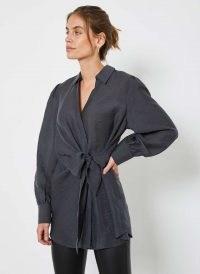 MINT VELVET Grey Puff Sleeve Knotted Shirt | wrap effect waist tie shirts