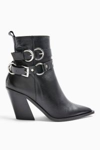 TOPSHOP HADRIA Leather Black Western Boots / stylish multi buckle boot