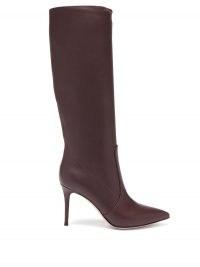 GIANVITO ROSSI Hansen 85 point-toe leather knee-high boots ~ burgundy stiletto heel boots