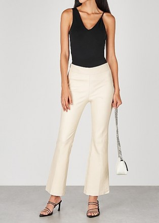HELMUT LANG Ecru flared-leg leather trousers ~ luxe flares - flipped