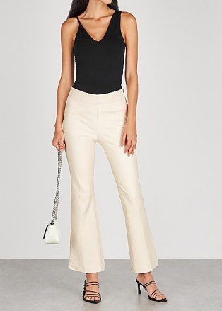 HELMUT LANG Ecru flared-leg leather trousers ~ luxe flares