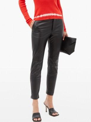 ALTUZARRA Henry zip-cuff leather slim-leg trousers ~ luxury black pants - flipped