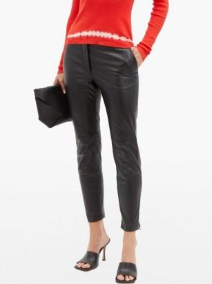 ALTUZARRA Henry zip-cuff leather slim-leg trousers ~ luxury black pants