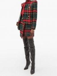 BALMAIN High-rise buttoned tweed mini skirt / asymmetric plaid skirts