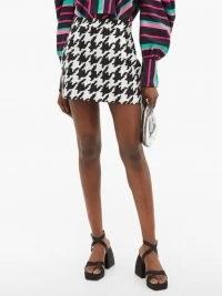ELZINGA Houndstooth-jacquard mini skirt | short length dogtooth print skirts