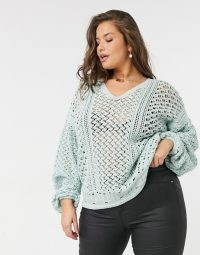 In The Style Plus x Lorna Luxe knitted jumper in green ~ plus size V neck open knit jumpers ~ semi sheer knitwear ~ slouchy drop shoulder sweater