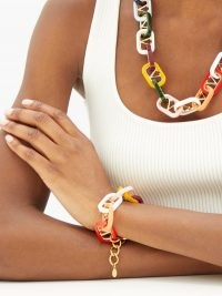 VALENTINO GARAVANI Interlocked-monogram bracelet / chunky multicoloured chain linked bracelets / statement jewellery