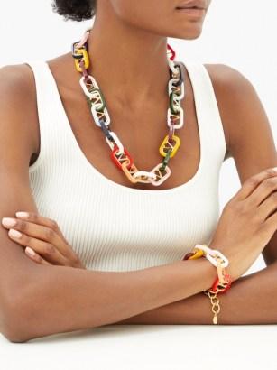 VALENTINO GARAVANI Interlocked-monogram necklace / chunky multicoloured necklaces / designer jewellery - flipped