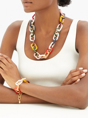 VALENTINO GARAVANI Interlocked-monogram necklace / chunky multicoloured necklaces / designer jewellery