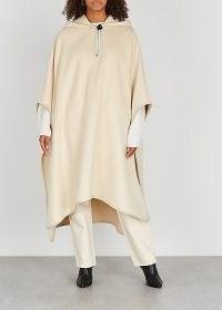 ISABEL MARANT Eowyn cream hooded wool-blend poncho / neutral longline ponchos / autumn outerwear