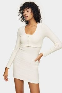 Topshop Ivory Ribbed Cardigan Mini Dress | knitted dresses