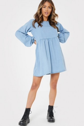 JAC JOSSA BLUE DENIM BALLOON SLEEVE SMOCK DRESS   long sleeve smocked dresses - flipped