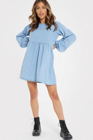 JAC JOSSA BLUE DENIM BALLOON SLEEVE SMOCK DRESS   long sleeve smocked dresses