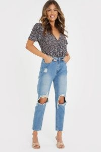 JAC JOSSA BLUE WASHED EXTREME RIPPED KNEE MOM JEANS | destroyed denim | celebrity fashion collaborations