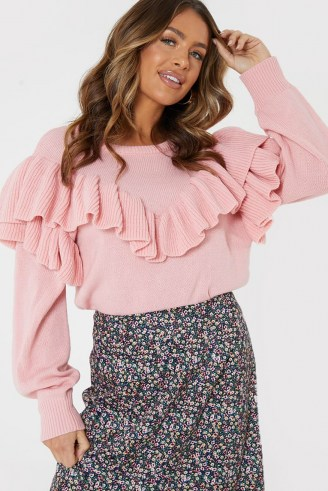 JAC JOSSA BLUSH RUFFLE KNIT JUMPER | ruffled jumpers | statement ruffles | knitwear - flipped
