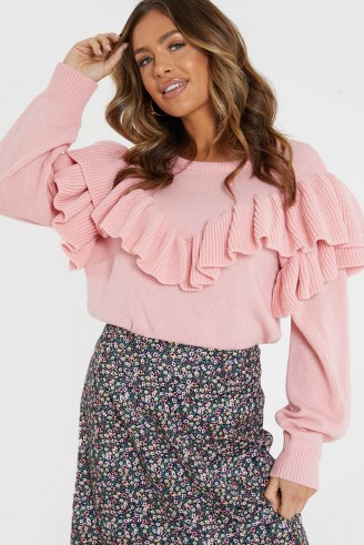 JAC JOSSA BLUSH RUFFLE KNIT JUMPER | ruffled jumpers | statement ruffles | knitwear