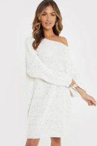 JAC JOSSA CREAM SPECKLED OFF SHOULDER JUMPER DRESS   sweater dresses