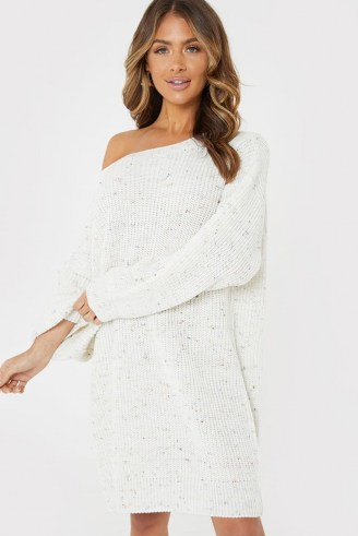 JAC JOSSA CREAM SPECKLED OFF SHOULDER JUMPER DRESS | sweater dresses - flipped