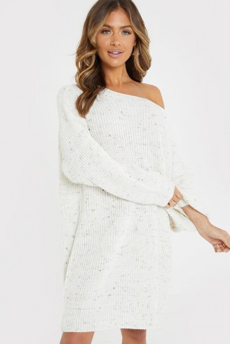 JAC JOSSA CREAM SPECKLED OFF SHOULDER JUMPER DRESS | sweater dresses