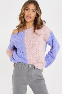 JAC JOSSA NUDE AND BLUSH OFF SHOULDER KNITTED JUMPER   colour block jumpers   celebrity clothing collaboration knitwear