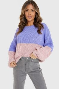 JAC JOSSA PURPLE AND PINK TWO TONE JUMPER   colour block crew neck jumpers   slouchy knitwear