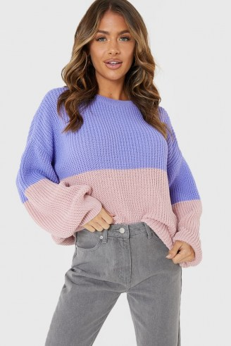 JAC JOSSA PURPLE AND PINK TWO TONE JUMPER | colour block crew neck jumpers | slouchy knitwear - flipped