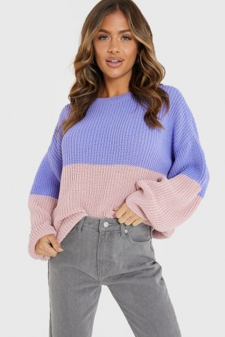 JAC JOSSA PURPLE AND PINK TWO TONE JUMPER | colour block crew neck jumpers | slouchy knitwear
