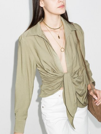 Jacquemus Bahia tie front blouse in green - flipped