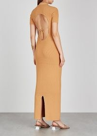 JACQUEMUS Le Robe Maille Polo sand stretch-knit maxi dress sand ~ open back dresses