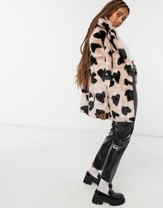Jakke heather mid length faux fur coat in heart spot print / fluffy winter coats / hearts - flipped