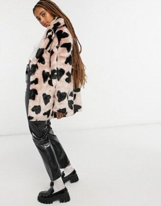 Jakke heather mid length faux fur coat in heart spot print / fluffy winter coats / hearts