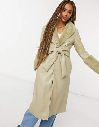 Jakke tilda faux leather wrap front trench coat with extreme faux fur trim sage green / trimmed winter coats - flipped