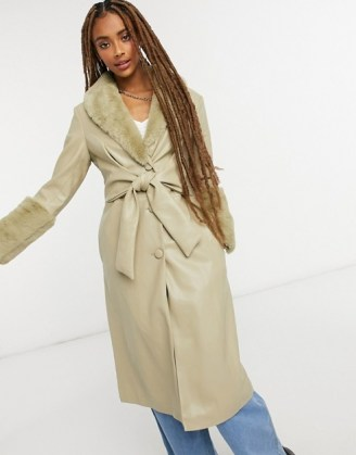 Jakke tilda faux leather wrap front trench coat with extreme faux fur trim sage green / trimmed winter coats