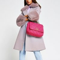 River Island Jersey Quilted Underarm Shoulder Bag | bright pink flap bags