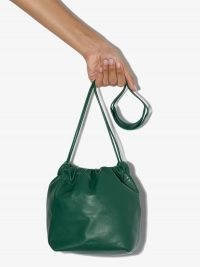 Jil Sander drawstring crossbody bag in green / leather cross body bags