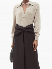 KHAITE Jo V-neck cashmere-blend sweater   luxe sweaters   luxury knits   knitwear