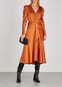 JONATHAN SIMKHAI Annalise burnt orange satin midi dress