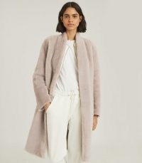 REISS JORDANN REVERSIBLE SHEARLING COAT TAUPE/TAN ~ luxe winter coats