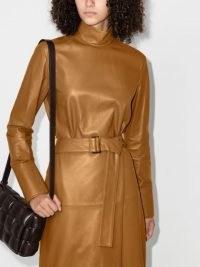 Joseph Bibo metallic blouse / caramel brown high neck tops