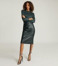 REISS KALI LEATHER PENCIL SKIRT GREEN ~ clothing shades for autumn and winter ~ luxe skirts