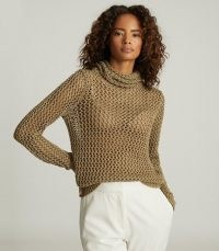 KARINA METALLIC OPEN-KNIT ROLL NECK BRONZE ~ luxe knitwear ~ semi sheer jumper ~ winter glamour