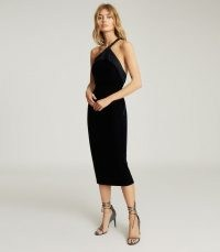REISS KARLA ONE SHOULDER VELVET DRESS NAVY / evening glamour / asymmetric occasion dresses