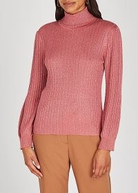 KATE SYLVESTER Rumer metallic-weave ribbed-knit jumper ~ high neck knitwear