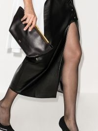 Khaite Aimee envelope clutch bag / black leather occasion bags