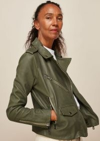 WHISTLES AGNES POCKET LEATHER BIKER / khaki-green zip detail jackets / cool casual outerwear