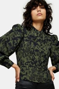 TOPSHOP Khaki Animal Print Slim Seamed Shirt – green printed puff shoulder shirts